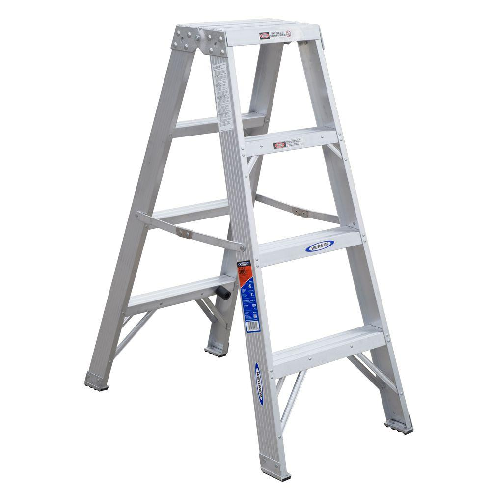 Werner 4 Ft Aluminum Twin Step Ladder With 300 Lb Load Capacity Type Ia Duty Rating T374 The Home Depot