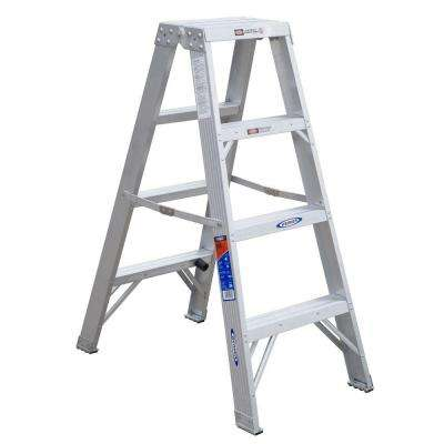 4 ft. Aluminum Twin Step Ladder with 300 lb. Load Capacity Type IA Duty Rating