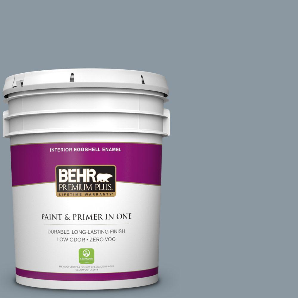 BEHR Premium Plus 5-gal. #N490-4 Teton Blue Eggshell Enamel Interior Paint