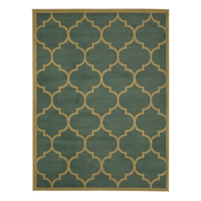 Clifton Collection Seafoam 5 ft. x 7 ft. Trellis Area Rug