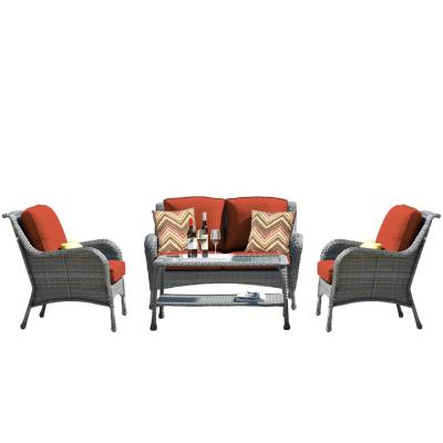 CASAINC Gray 4-Piece Metal Patio Conversation Sectional Seating w/ CushionGuard Red Cushions