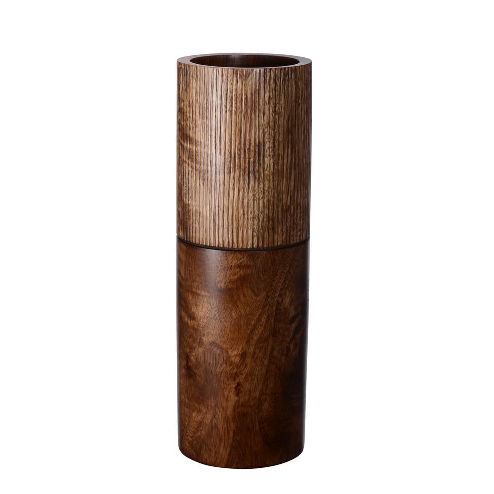 15 in. Brown Decorative Handmade Cylinder Mango Wood Vase