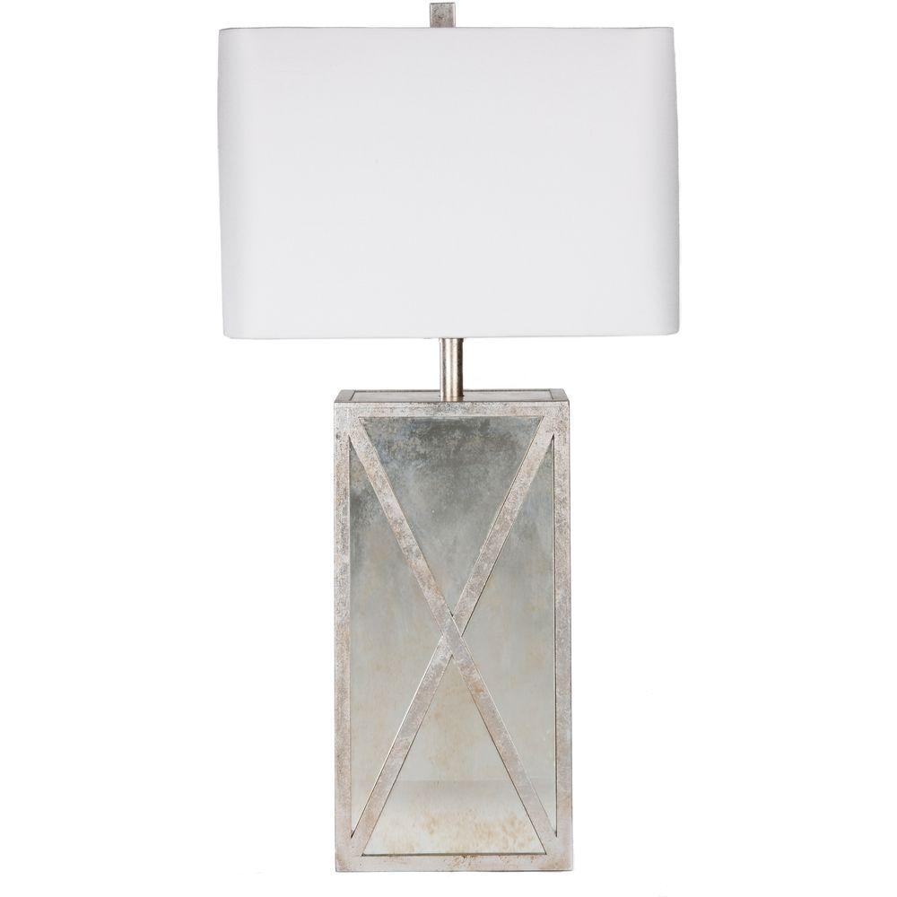 Dennard 27 in. Antiqued Mirror Indoor Table Lamp