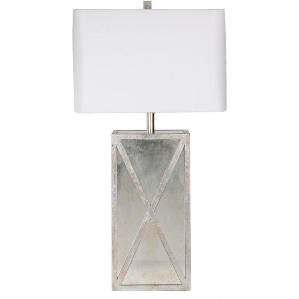 Dennard 27 in. Antiqued Mirror Indoor Table Lamp