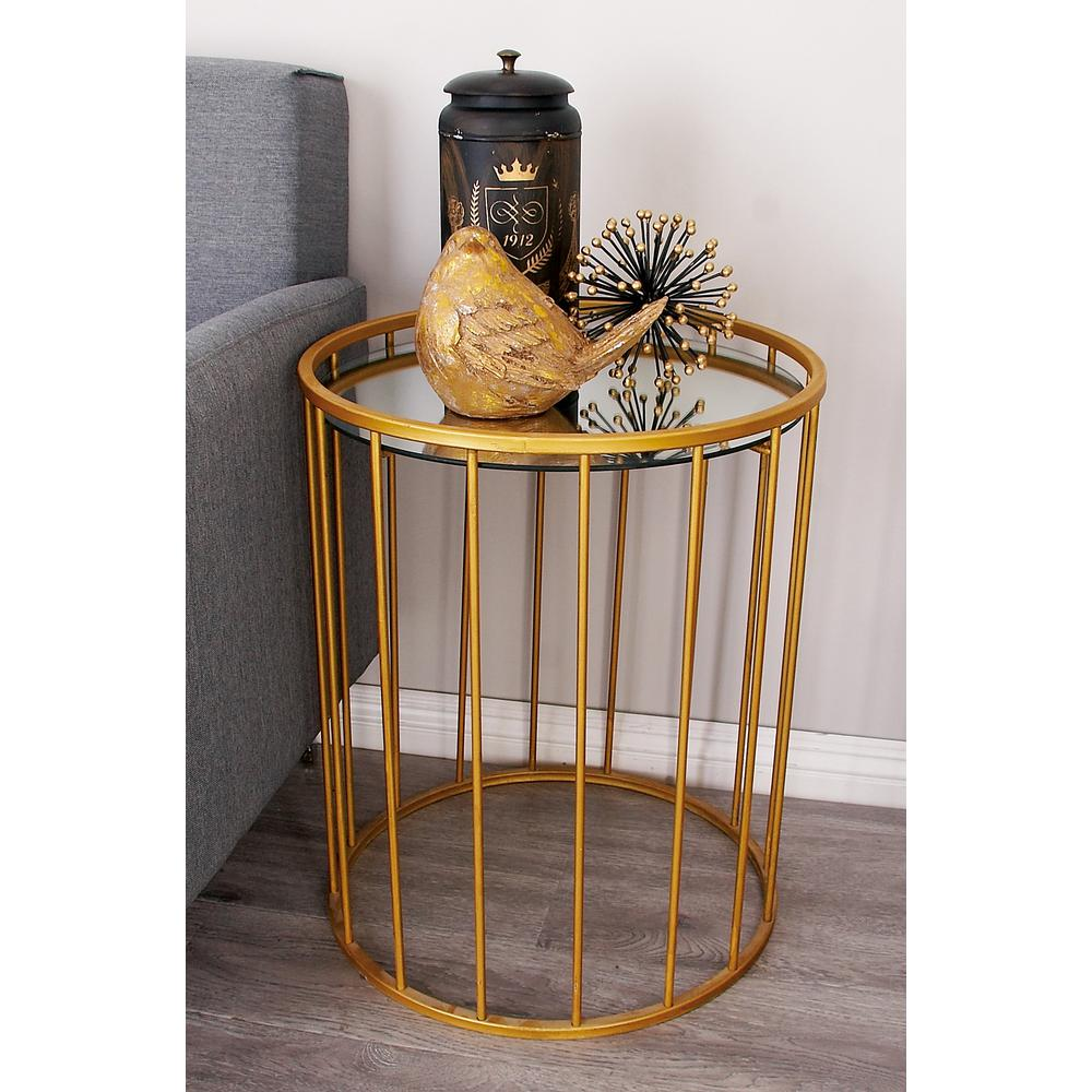 Metallic Gold Barrel Accent Tables Set of 355561 The Home Depot