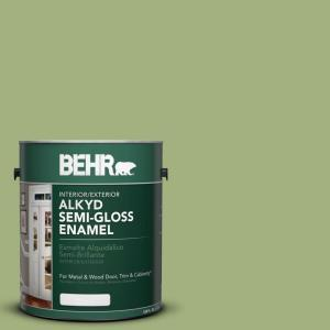 BEHR 1-gal. #AE-34 Meadow Green Semi-Gloss Enamel Alkyd Interior/Exterior  Paint-393001 - The Home Depot
