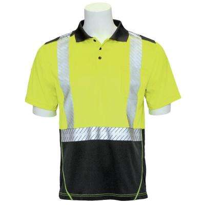 Men's XL High Visibility Lime Moisture Wicking Short Sleeve Polo Shirt with Segmented Reflective Tape