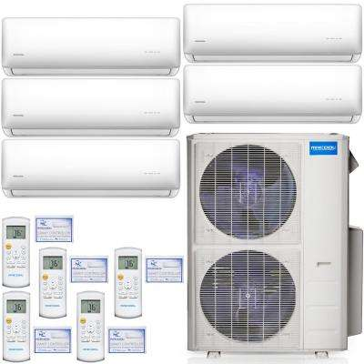 Olympus 48,000 BTU 4 Ton 5-Zone Ductless Mini Split Air Conditioner and Heat Pump, 25 ft. Install Kit - 230V/60Hz