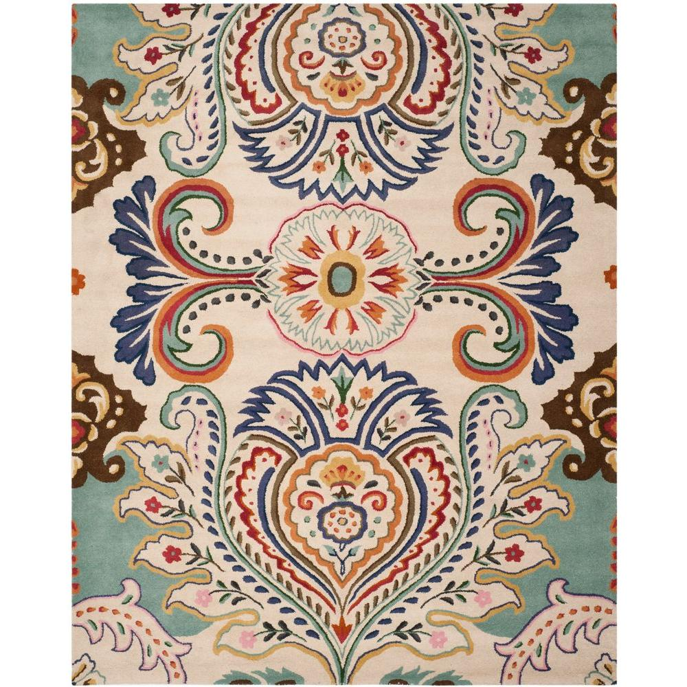 Safavieh Bella Ivory Blue 8 Ft X 10 Ft Area Rug Bel118a 8 The