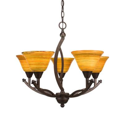5-Light Bronze Chandelier with 7 in. Fire Saturn Glass