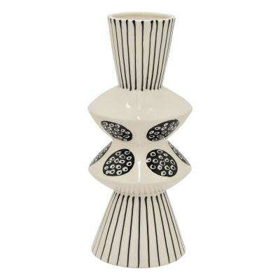 11.5 in. Black and White Porcelain Vase