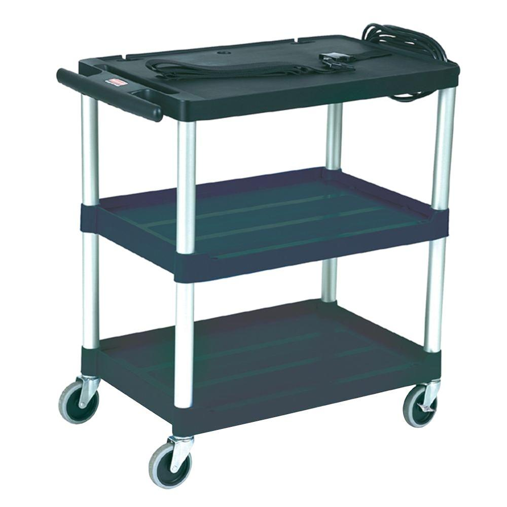 Rubbermaid Commercial Products Audio-Visual Cart with 3 Open Shelves in Black