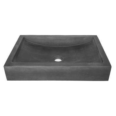 22 in. Shallow Wave Concrete Rectangular Vessel Sink in Charcoal