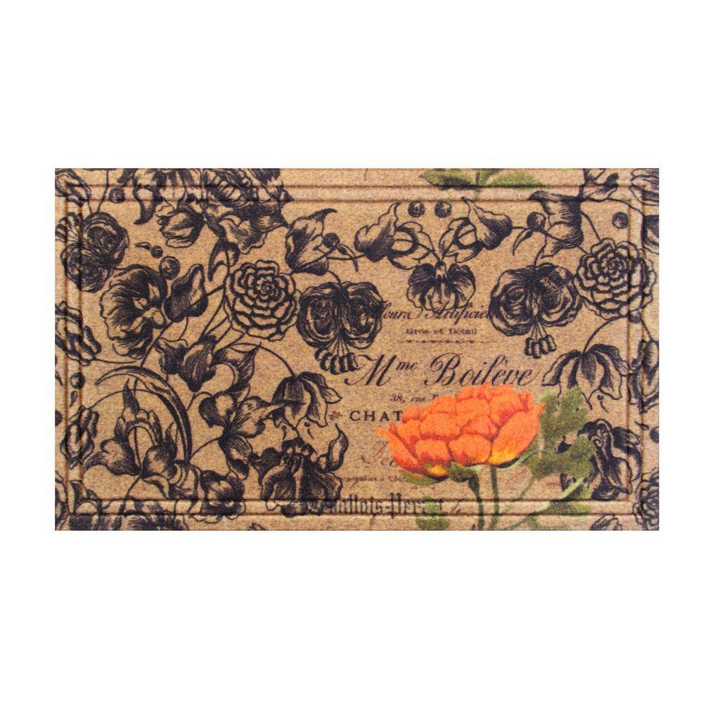 Floral 18 in. x 30 in. Rubber Door Mat