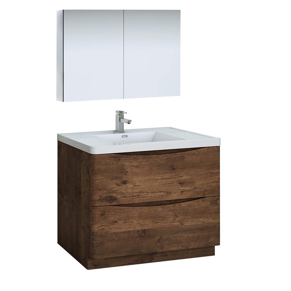 Modern Bathroom Vanity in Rosewood with Vanity Top in White with
