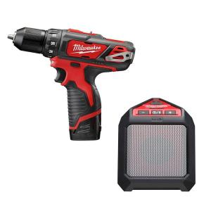 M12 Lithium-Ion 3/8 in. Drill/Driver Kit with Blue Tooth Speaker