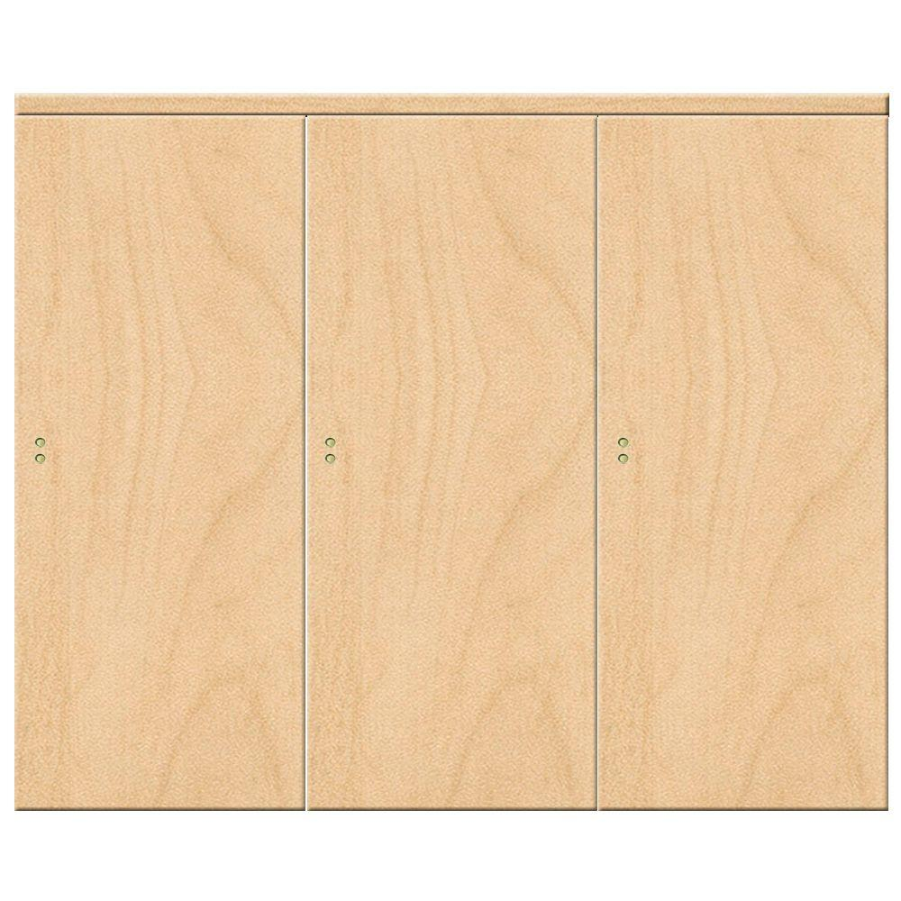 Impact Plus 96 in. x 84 in. Smooth Flush Solid Core Stain Grade Maple MDF Interior Closet Sliding Door with Matching Trim