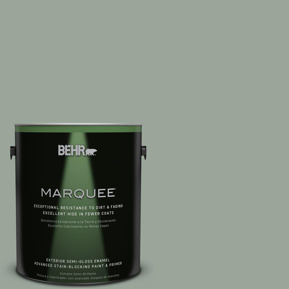 BEHR MARQUEE 1-gal. #MQ6-17 Green Trellis Semi-Gloss Enamel Exterior Paint
