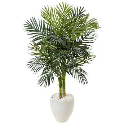 Indoor Golden Cane Palm Artificial Tree in White Oval Planter
