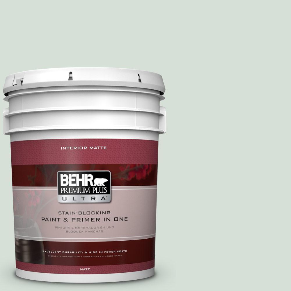 BEHR Premium Plus Ultra 5 gal. #S410-1 River Mist Matte Interior Paint