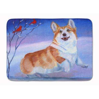 19 in. x 27 in. Corgi Snow Cardinal Machine Washable Memory Foam Mat