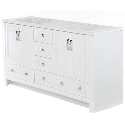 Candlesby 60 in. W x 19 in. D Bathroom Vanity in White with Cultured Marble Vanity Top in White with White Sink