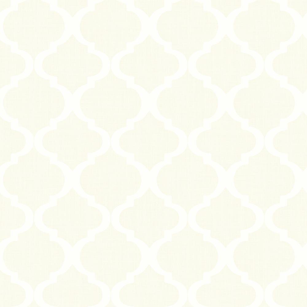 Cream Wallpaper: Chesapeake Tabitha Cream Watercolor Quatrefoil Wallpaper