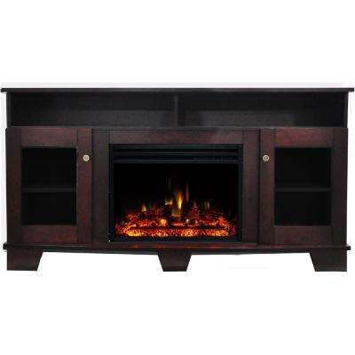 Savona 59 in. Electric Fireplace Heater TV Stand in Mahogany with Enhanced Log Display and Remote