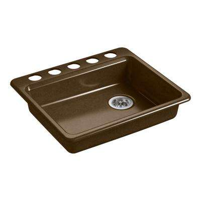 Riverby Undermount Cast Iron 25 in. 5-Hole Single Bowl Kitchen Sink in Black 'n Tan