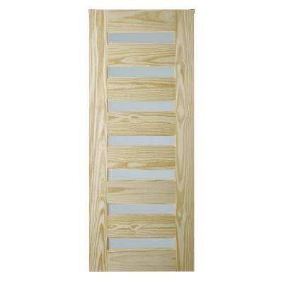 33 in. x 84 in. Milan Unfinished 7-Lite Clear Pine with Frosted Tempered Glass Inserts Interior Barn Door Slab