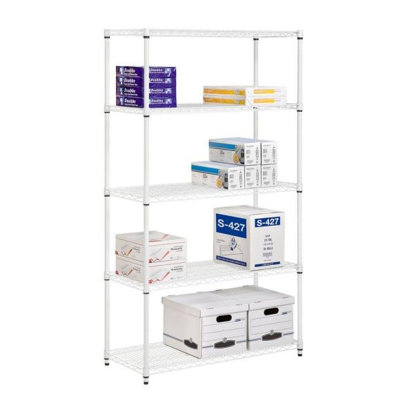 Honey Can Do White 5 Tier Heavy Duty Metal Wire Shelving Unit 42 In W X 72 In H X 18 In D Shf 01574 The Home Depot