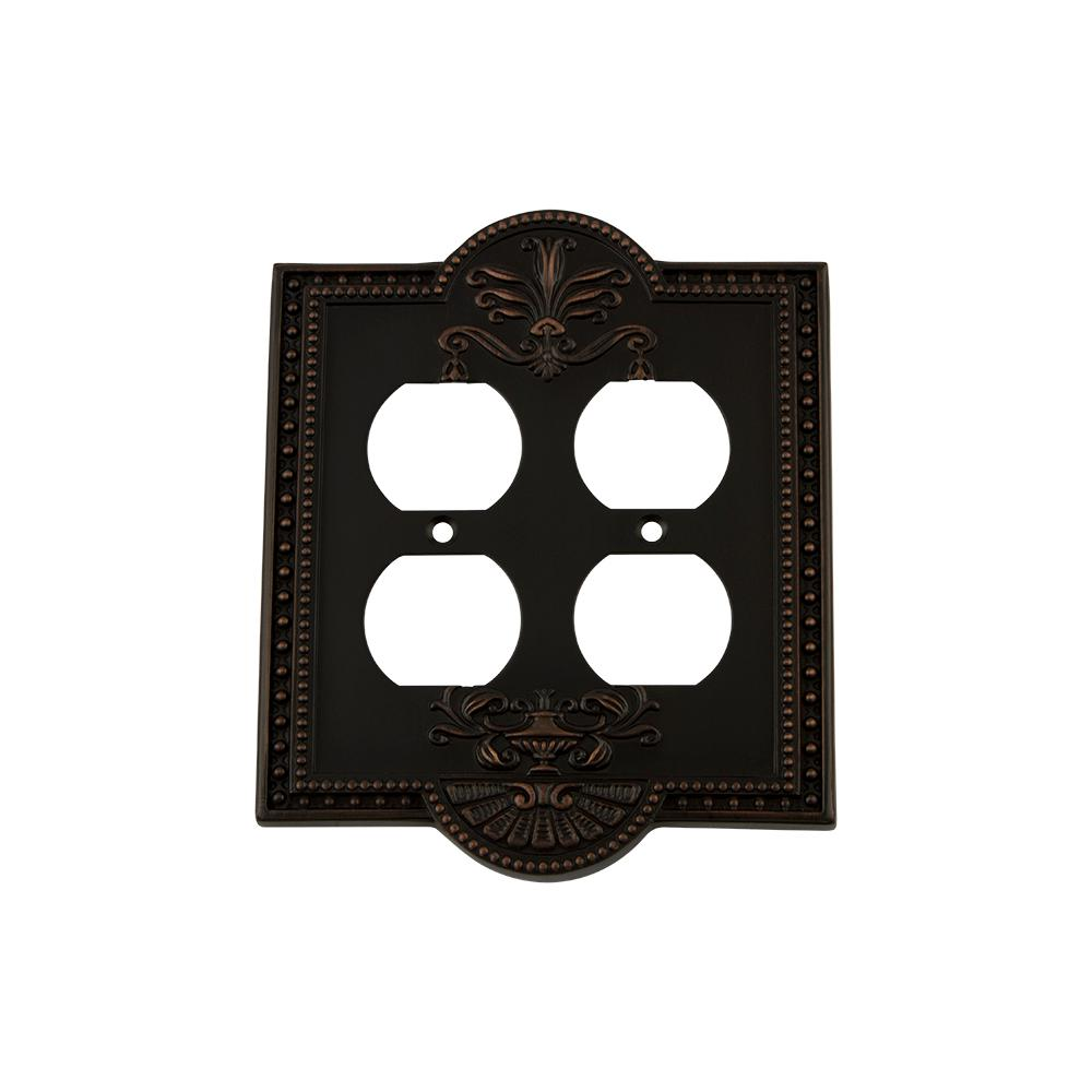 Meadows Switch Plate with Double Outlet in Timeless Bronze