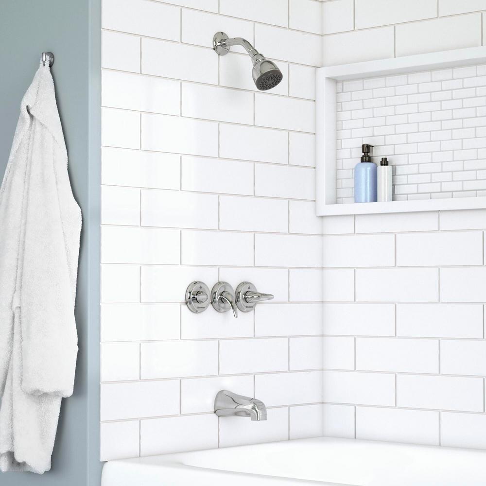 Glacier Bay Aragon 3 Handle 1 Spray Watersense Tub Shower Faucet