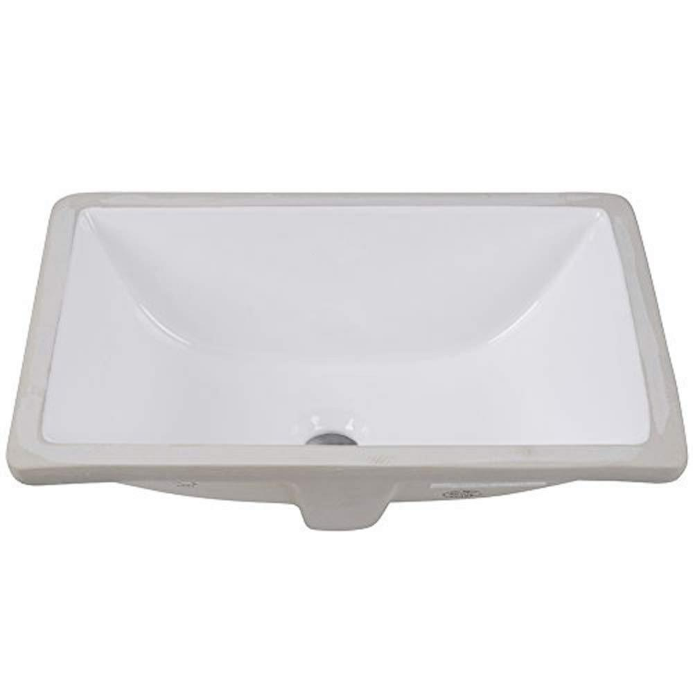 18 in. Undermount Rectangular Lavatory Vitreous china Sink in White