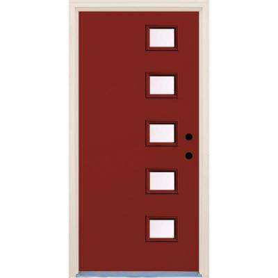 36 in. x 80 in. Cordovan 5 Lite Clear Glass Painted Fiberglass Prehung Front Door with Brickmould