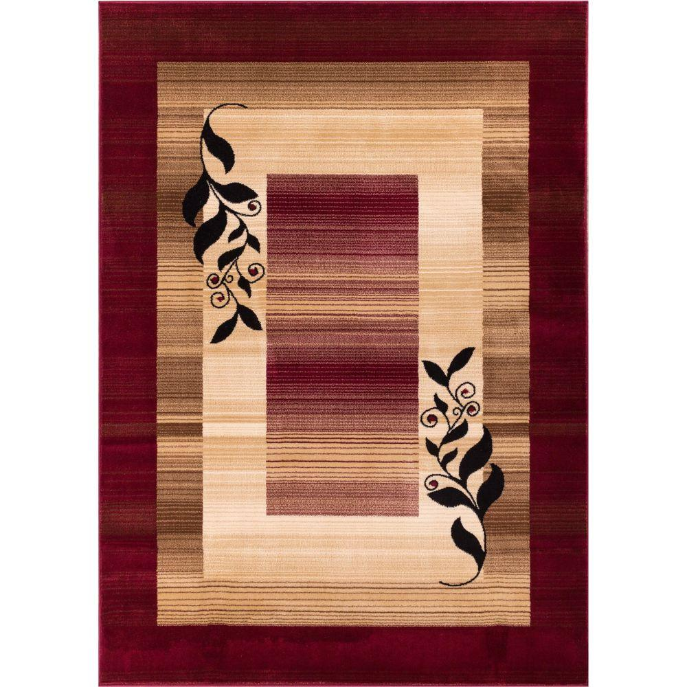 Well Woven Barclay Molly Red 3 ft. 11 in. x 5 ft. 3 in. Modern Border Leaves Area Rug