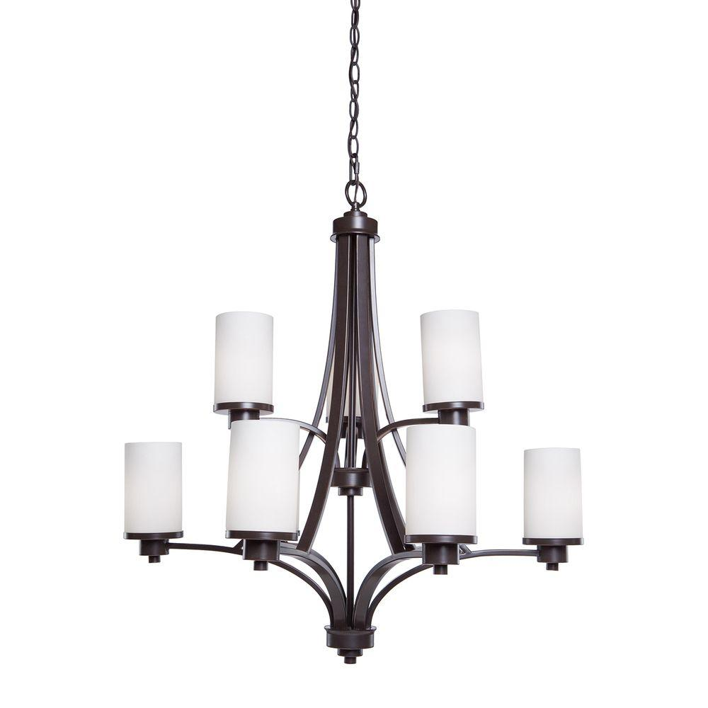 ARTCRAFT Parkdale 9-Light Oil-Rubbed Bronze Chandelier Parkdale 9 lite 2 tier chandelier features its clean and simple design complimented with opal white glassware in rubbed oiled bronze finish