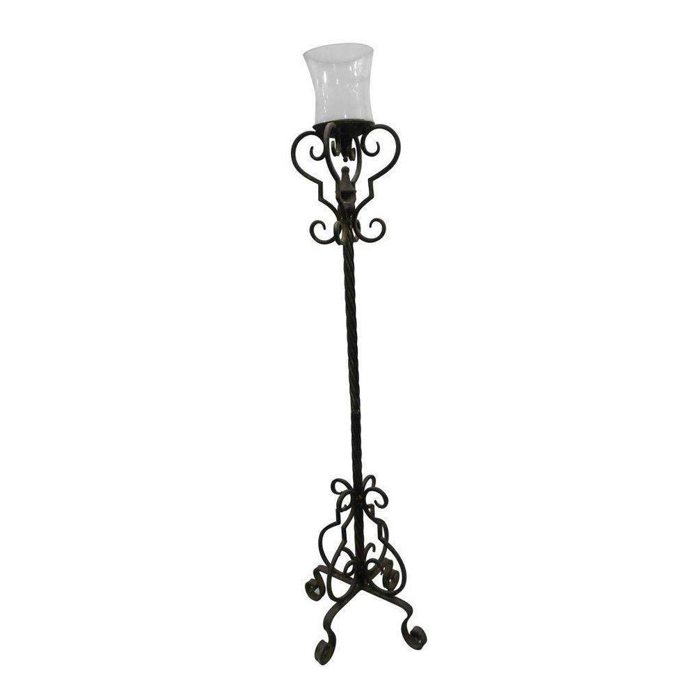 null 9.5 in. x 48 in. Decorative Iron Candle Holder