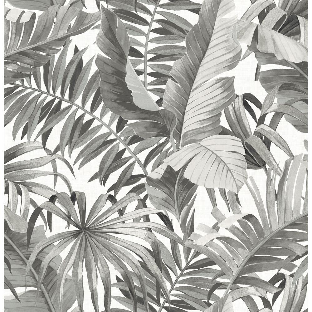 Alfresco Black Palm Leaf Wallpaper Sample