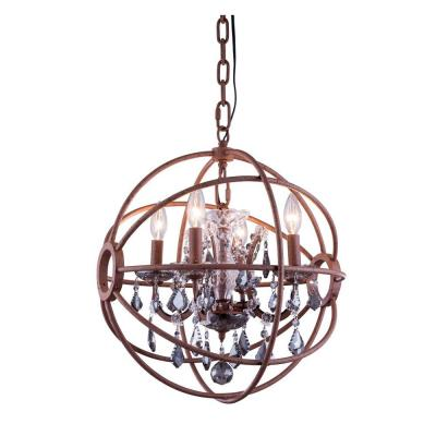 Geneva 4-Light Rustic Intent Chandelier with Silver Shade Grey Crystal