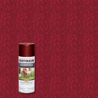 12 oz. Hammered Bright Red Protective Spray Paint (6-Pack)