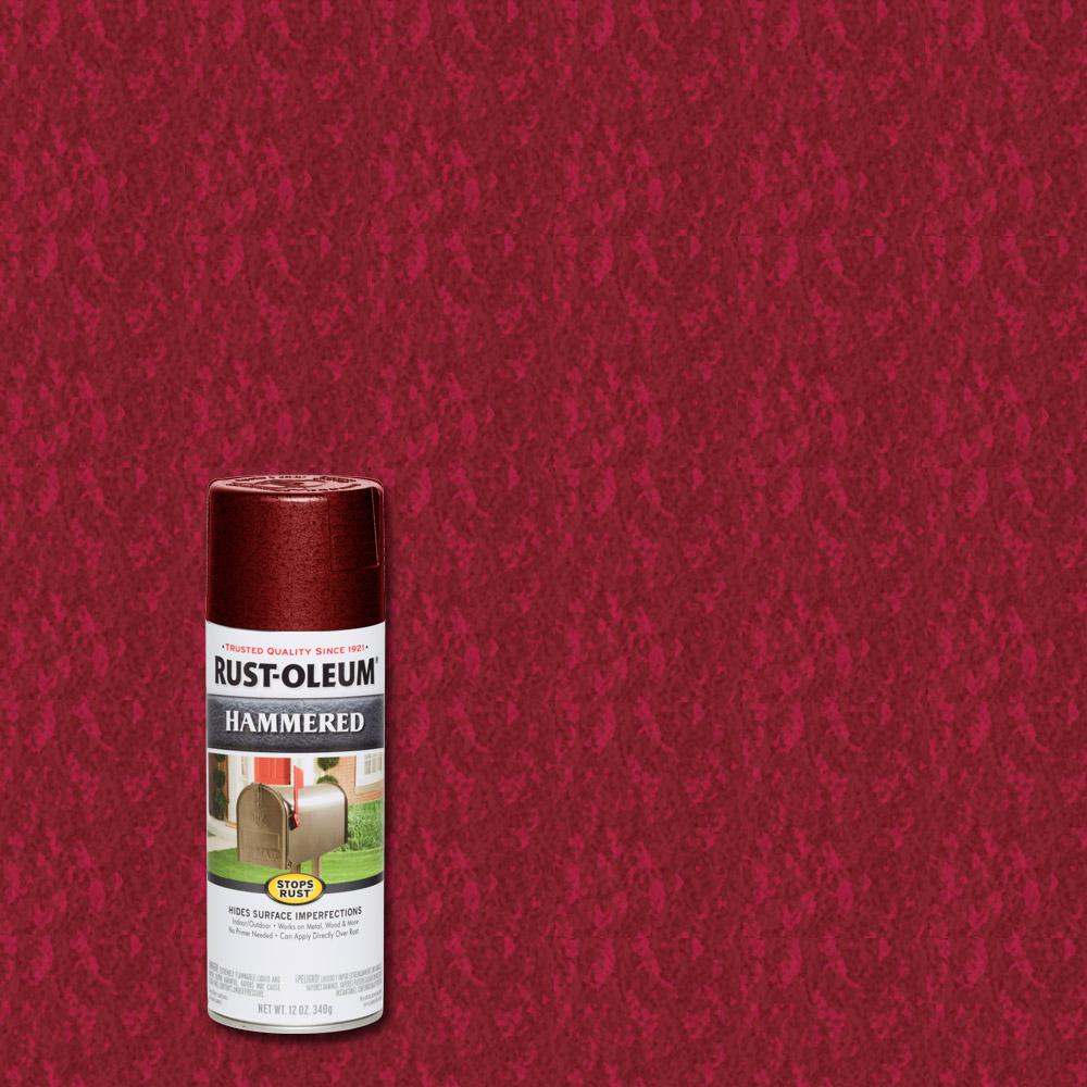 Rust Oleum Stops Rust 12 Oz Hammered Bright Red Protective Spray Paint 6 Pack