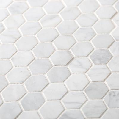 Carrara Constellation White 10.75 in. x 11.375 in. x 8 mm Hexagon Honed Marble Wall and Floor Mosaic Tile