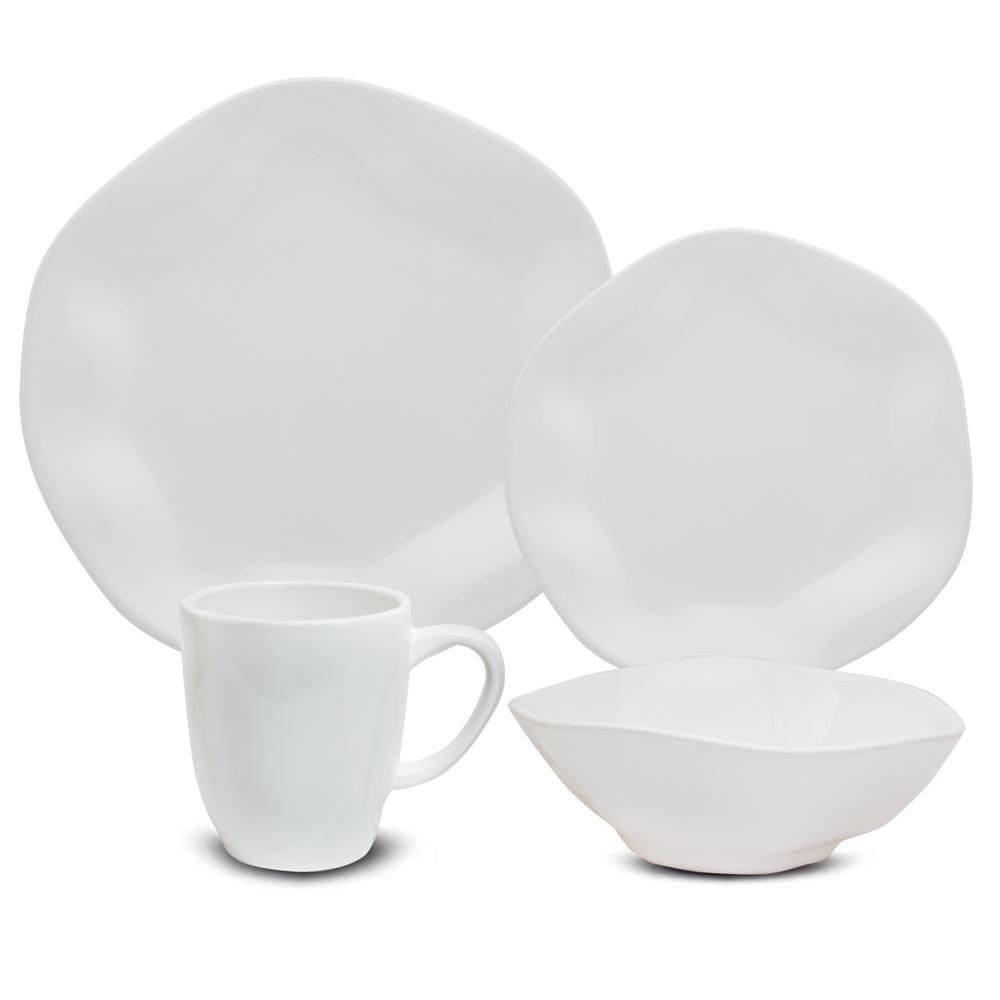 RYO 16-Piece Casual White Porcelain Dinnerware Set (Service for 4)