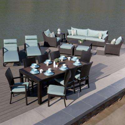 Deco 19-Piece Estate Patio Seating Collection with Bliss Blue Cushions