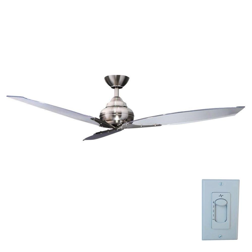 hamptonbay Hampton Bay Florentine IV 56 in. Indoor Brushed Nickel Ceiling Fan with Wall Control