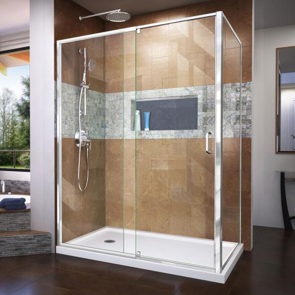 Dreamline Flex 60 In W X 36 In D X 74 75 In Framed Pivot Shower Enclosure In Chrome With Left Drain White Acrylic Base Kit Dl 6720l 01cl The Home Depot