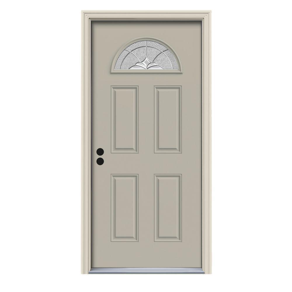 36 in. x 80 in. Fan Lite Langford Desert Sand Painted Steel Prehung Right-Hand Inswing Front Door w/Brickmould