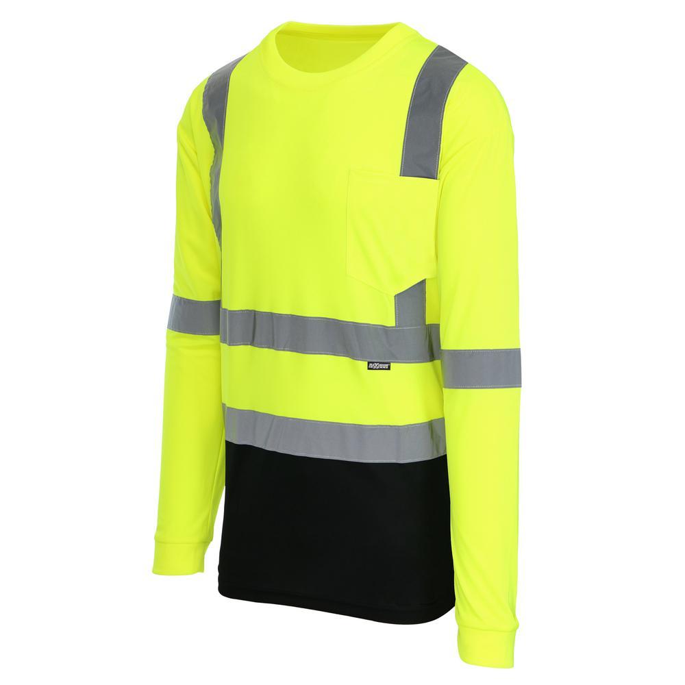 Unisex Large Hi-Vis Black Long-Sleeve Safety Shirt