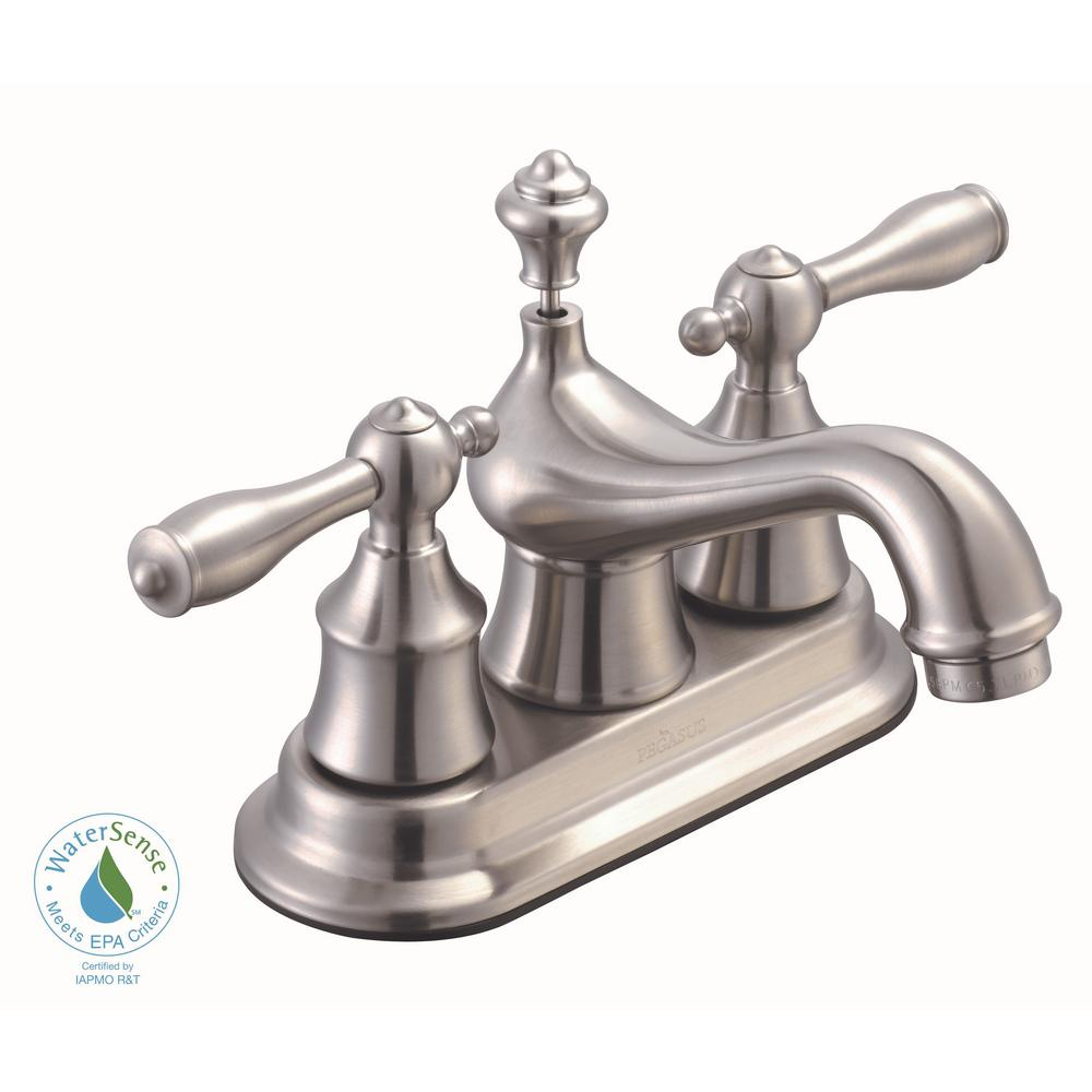 Estates 4 in. Centerset 2-Handle Low-Arc Bathroom Faucet with Pop-Up Assembly